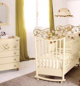 Кроватка и Комод Baby Expert Ceramics Perla Gold