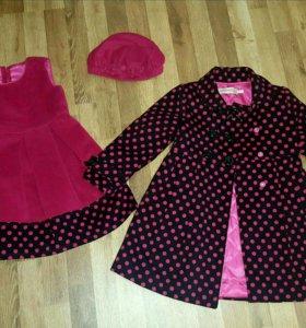 Хорошенькое пальто на девочку (комплект)