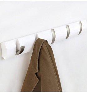 Вешалка настенная горизонтальная белая Flip 5 крюч