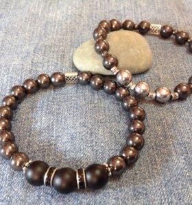 Мужские стильные браслеты из нат. камней