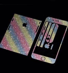 Карбоновые наклейки с напылением на iPhone 6/6s