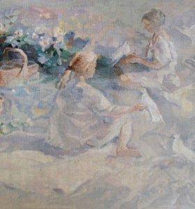 "Тканая картина""Девочки и голуби"""