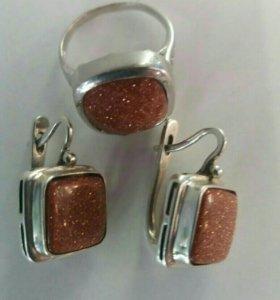 Комплект из серебра 925 пр с авантюрином