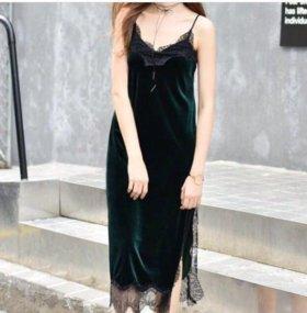 Стильное бархатное платье сорочка новое