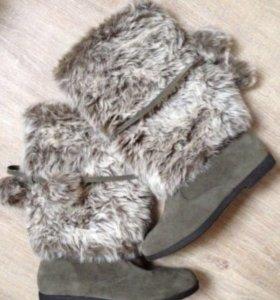 Сапоги женские Zara новые 38 демисезонные мех