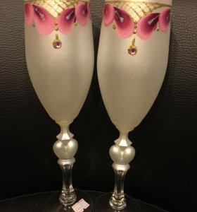 Стильные бокалы для свадьбы
