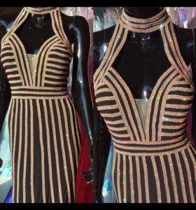 Чёрное платье новое с золотом Jovani