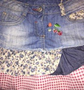 Оригинальная джинсовая юбка Next р. 128 новая