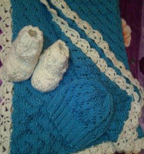 Вязаный плед + носочки и шапочка