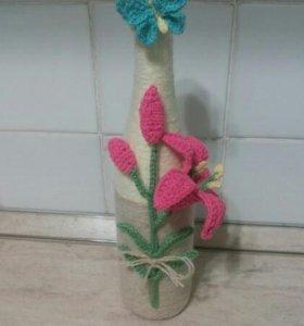 Подарки.Декорирование пряжей.чехлы для бутылок