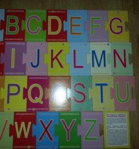Карточки пазл, английские буквы, играем и  учим
