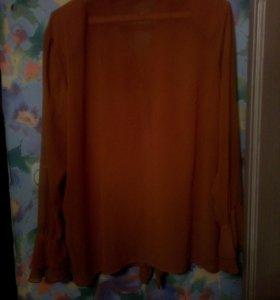 Длинная шёлковая блуза, 48-52 р.,( оверсайз)