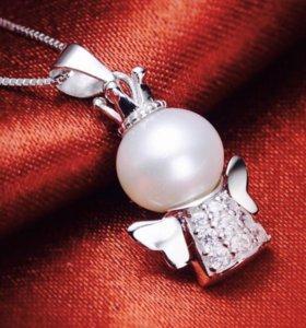 Серебреной кулон и цепочка