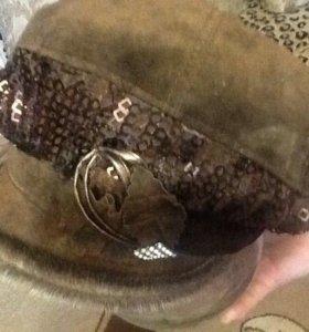 Шапка кепи натуральная замша
