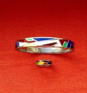 Браслет и кольцо Геометрия эмаль