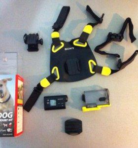 Экшн камера SONY HDR-as30v с креплением для собаки