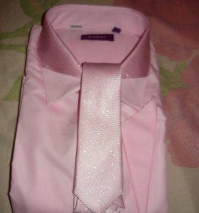 Рубашка свадебная с платочком и галстуком