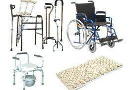 Ходунки, инвалидная кресла-коляска, костыли