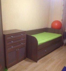Кровать для двоих детей+стол+полка для книг