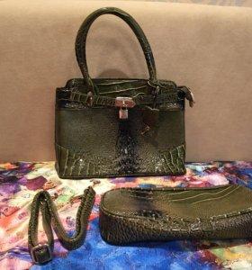 Женская сумка и клач под крокодил
