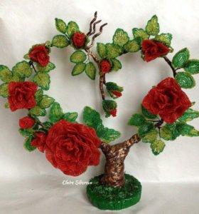 Розы из бисера, ручная работа, цветы, интерьер