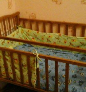 Кроватка+матрас+2 одеяла+ подушка
