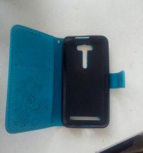 Чехол голубой на Asus Zenfone 2 Laser диоганаль5.0