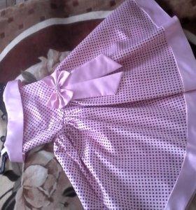 Бальное платье нежно розовое в горошек