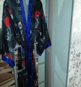 Халат шелковый,кимоно