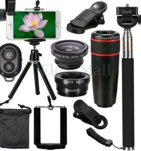 Набор объективов для смартфона, монопод и штатив