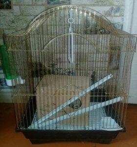 2 Клетки для попугая в комплекте + домик