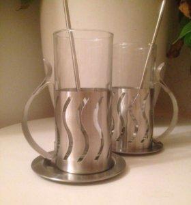 Бокалы (2 стакана в подстаканниках)