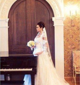 Свадебное платье Love bridal со шлейфом + фата