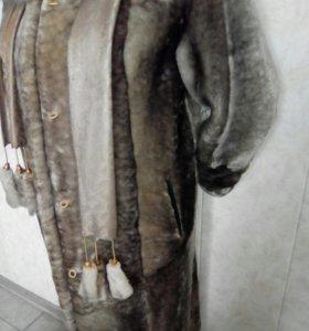 шуба из мутона с норковым воротником