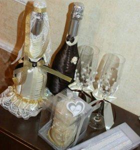 Изготовление свадебных бутылок,бокалов,свечей