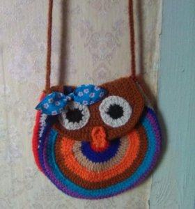 Вязанная сумка Сова