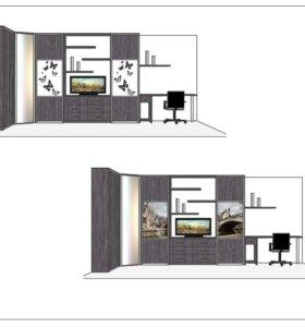 Встроенный шкаф в гостинную