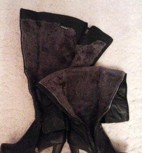 Сапоги - ботфорты зимние из натуральной кожи