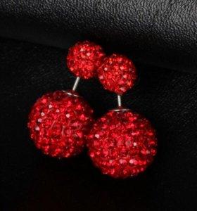 Серьги с кристаллами сваровски красные