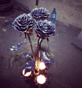Розы из металла! Подсвечник!