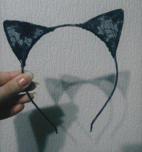 Новый ободок черный кружево уши кот ушки