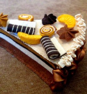 Шоколадный торт шкатулка из фетра