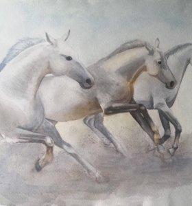 Картина акварелью - Кони