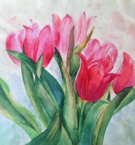 Картина акварелью - тюльпаны