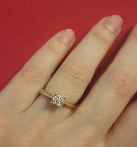 Золотое кольцо с бриллиантами 16 (16,5)размер