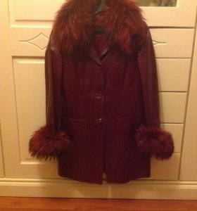 Пальто натуральная кожа натуральный мех (2 в 1)