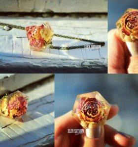 Новая подвеска кулон кристалл с натуральной розой