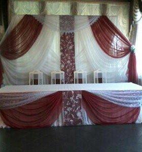 Украшение банкетных залов тканью и цветами