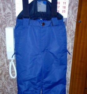Новые теплые брюки на лямках