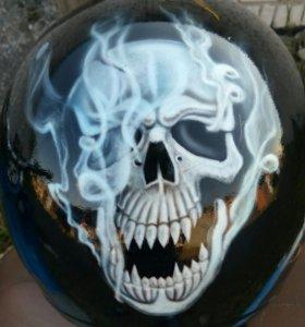 Шлем мото ,аэрография